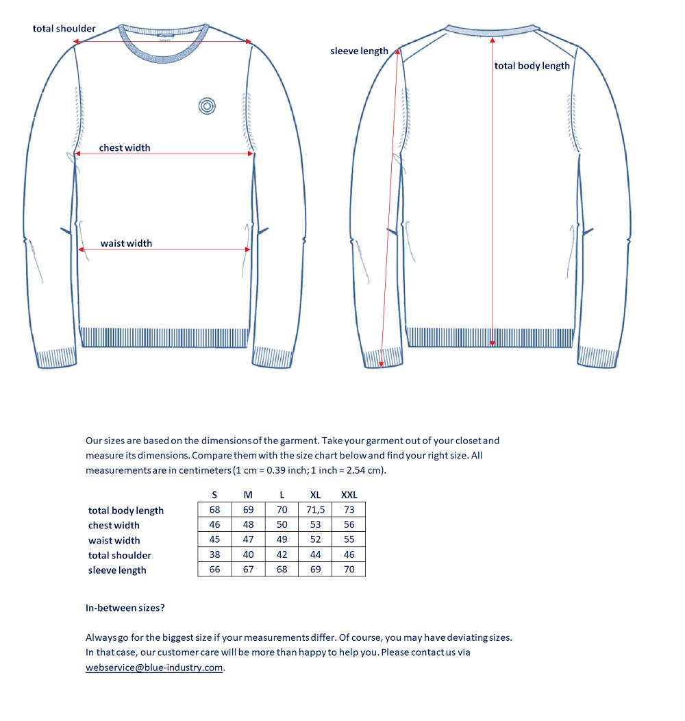 Maattabel knitwear EN